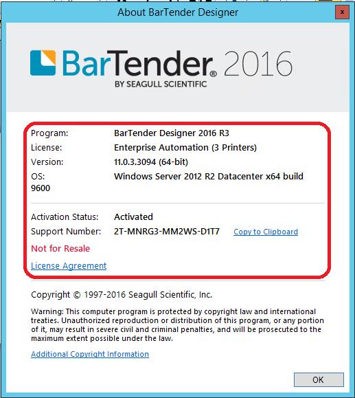 Look up version and serial number for BarTender - BarTender