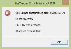 IDispatch Error #3092