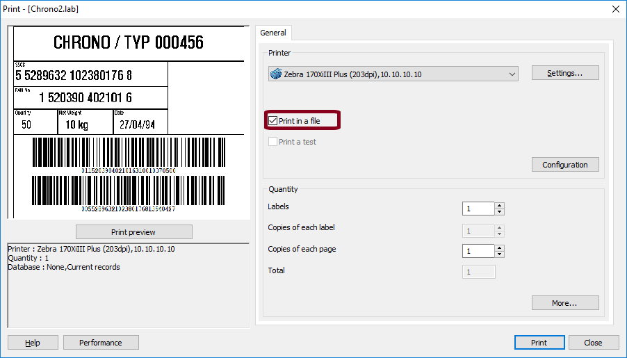 View Printer Code Using the 'Print in a file' feature