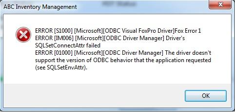 ERROR [S1000] [Microsoft][ODBC Visual FoxPro Driver]Fox Error 1