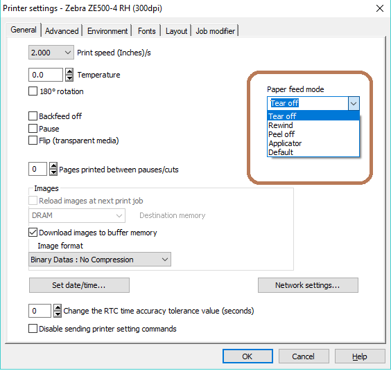 Paper Feed Mode Settings - TEKLYNX Software Reference