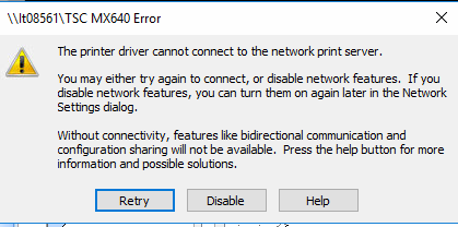 The printer driver cannot connect to the network print